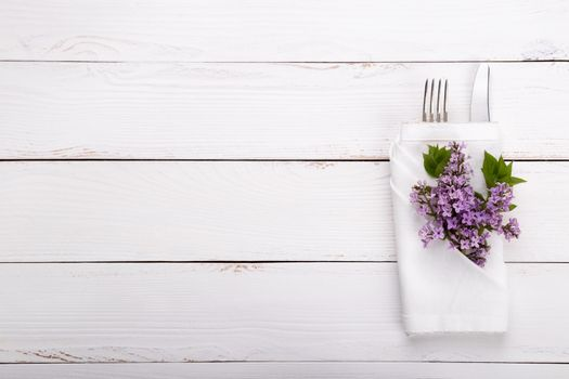 Spring festive table setting with vintage cutlery