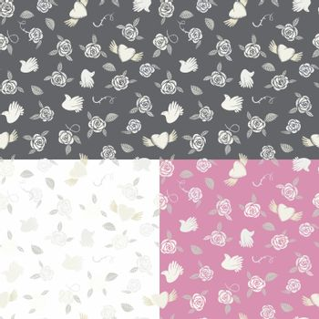 One seamless pattern on three various backgrounds about romantic love