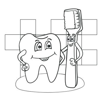 Black and White Cartoon Illustration of Happy Tooth Character with Toothbrush Coloring Book