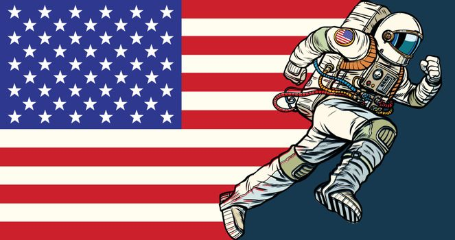 American astronaut patriot runs forward. USA flag