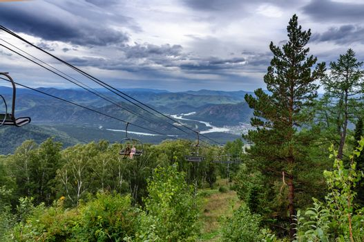 Cable car in the Altai mountains in summer