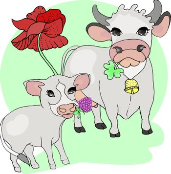 Cow and calf. Animals, and their offspring
