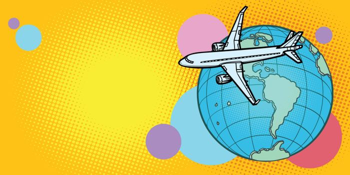 plane flies over globe America passenger aviation