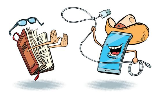 Smartphone versus books. Literature and love of reading and modern technology