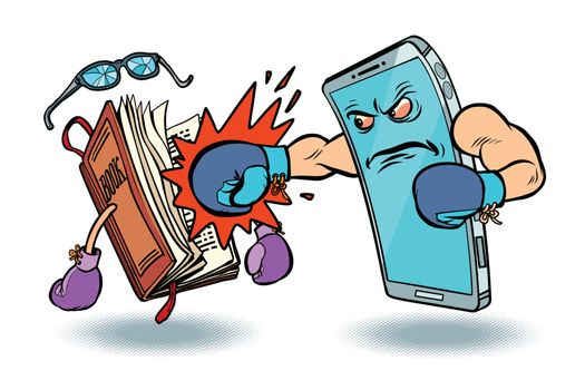smartphone against book. enmity of technology and culture concept