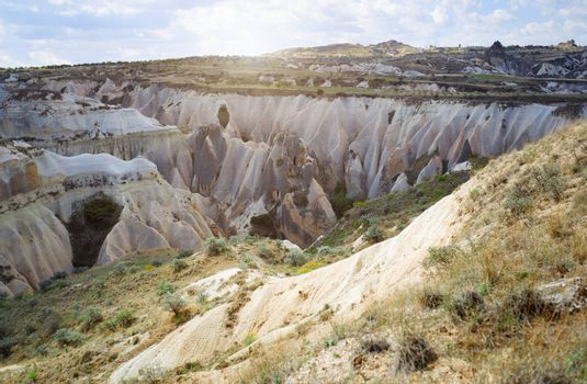 Limestone and tuff rock formations in Cappadocia, Turkey