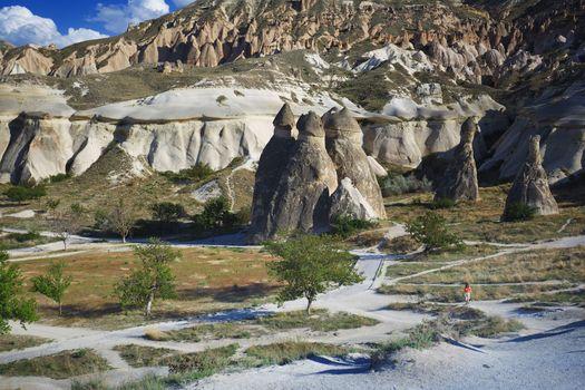 Limestone and tuff rock formations in Cappadocia