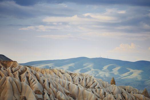 Rock limestone and tuff formations in Cappadocia