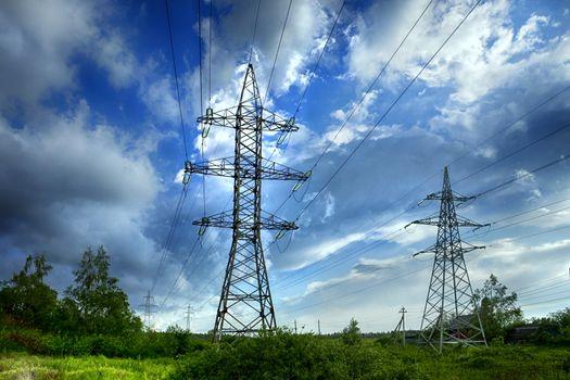 transmission tower on blue sky background