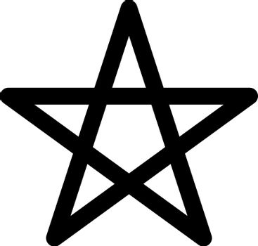Pentagram sign - five-pointed star. Magical symbol of faith. Simple flat black illustration with rounded corners