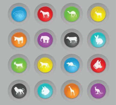 mammals colored plastic round buttons icon set