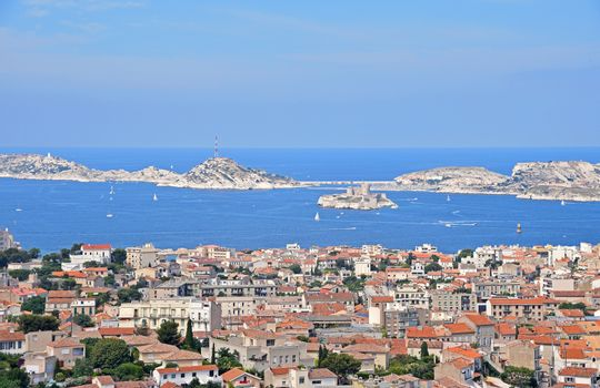 View of Marseille marina and the Chateau d If