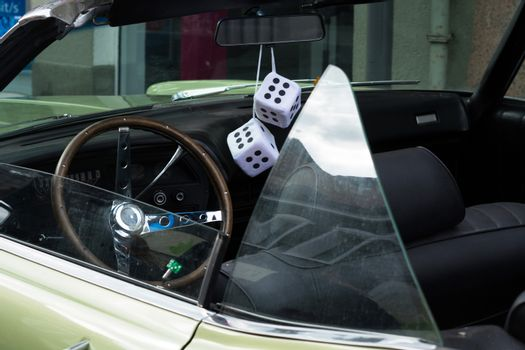 Fuzzy Dice on the rearview mirror