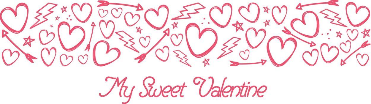valentines day doodle sketch art vector