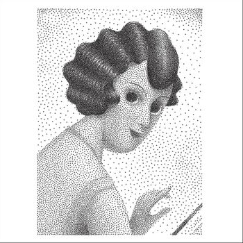 The illustrated halftone dotted black and white portrait of a young woman half-turned and looking back, vintage illustration 1920s style