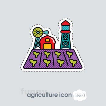 Farm landscape with barn, seedling and windpump