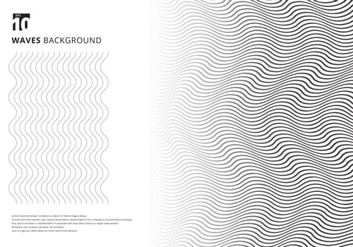 Abstract template black wavy stripes curved ripple lines texture on white background with copy space. Modern trendy 3D curves. Vector illustration