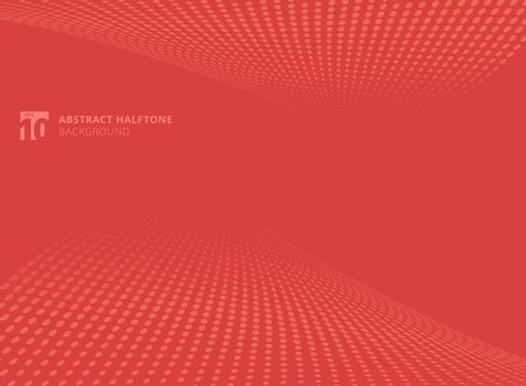 Abstract pattern dots red color halftone perspective background. Vector illustration