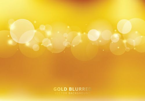 Abstract gold blurred background with circles bokeh and sparkle. Luxury style. Copy space. Vector illustration