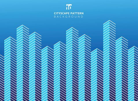 Abstract white color serrated lines pattern on blue background with copy space. Cityscape towers pattern. vector illustration