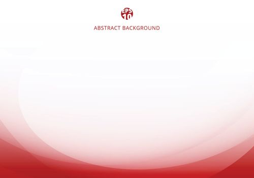 Abstract elegant red light curve template on white background with copy space. Vector illustration