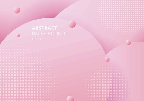 Abstract 3D liquid fluid circles pink pastels color beautiful background with halftone texture. Vector illustration