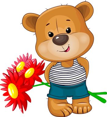 Little bear with flowers on a white background. A bear holds a bouquet of red flowers.