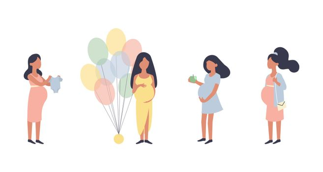 Pregnant woman. Pregnancy vector illustration set. Walking, healthy nutrition during pregnancy, purchase, baby shower and other situations. Character vector design. Healthy lifestyle. Preparation for childbirth