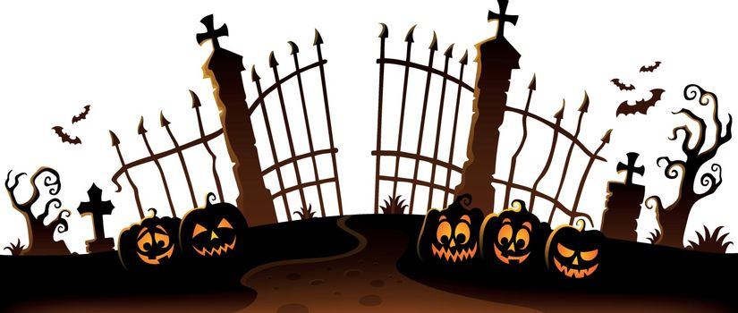 Cemetery gate silhouette theme 6 - eps10 vector illustration.