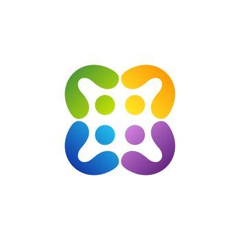 people teamwork logo education group symbol icon vector design illustration