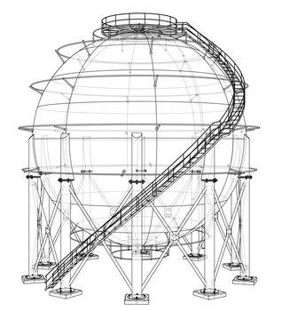 Spherical gas tank outline. Vector