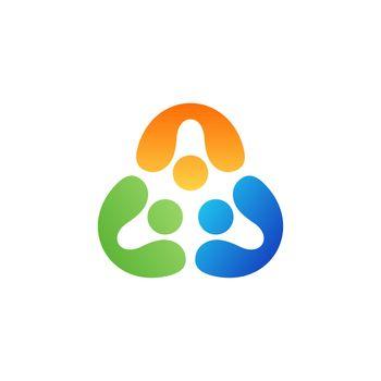 teamwork people united logo symbol icon vector design illustration