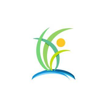 plant people wellness logo, nature ecology concept symbol icon vector design illustration