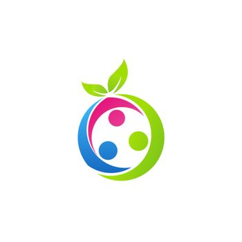 family health concept logo, nutrition fruit logo symbol icon vector design elements illustration