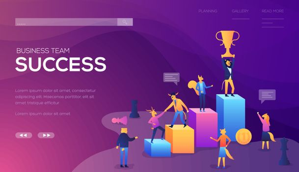Business team success landing page vector template