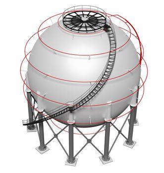 Spherical gas tank. 3D illustration