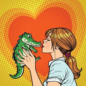 mom kisses crocodile, naughty baby concept