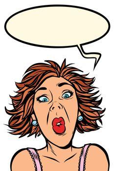 Funny woman screams, strange facial expressions