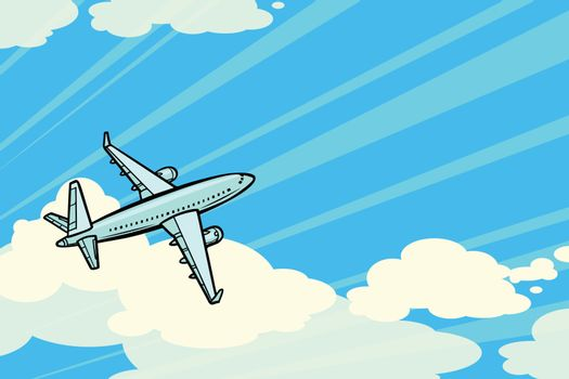 the plane is flying in the clouds. air transport aviation