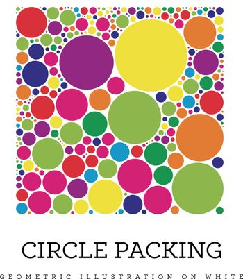 Circle packing vector illustration. Circles are placed in such a way that they touch, but do not intersect. Illustration on white