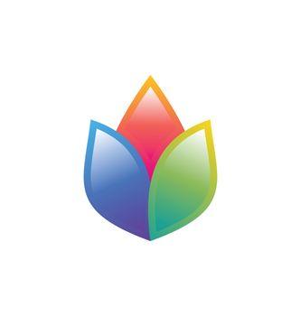 lotus flower logo concept colorful yoga flowers symbol icon vector design illustration