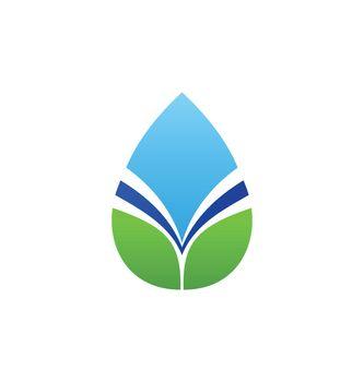 natural water drop elements leaf logo symbol icon vector design illustration