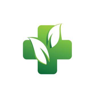 herbal medicine pharmacy health logo, medical plus icon symbol vector design illustration
