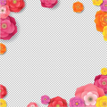 Spring Border With Flowers Transparent Background With Gradient Mesh, Vector Illustration