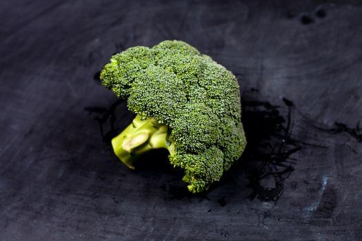 Fresh green wet broccoli.