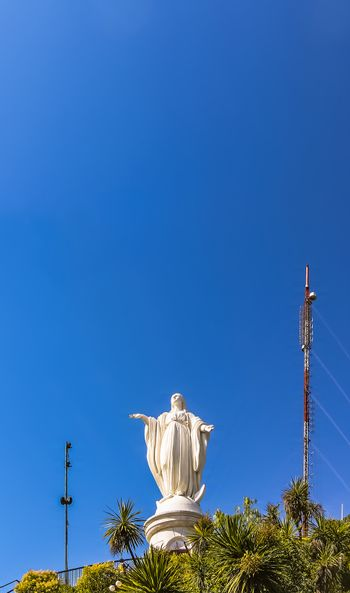Statue of the Immaculate Conception on the summit of San Cristobal Hill, Santiago, Chile