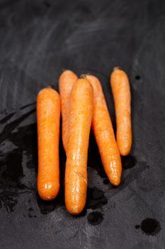 Fresh organic wet carrots
