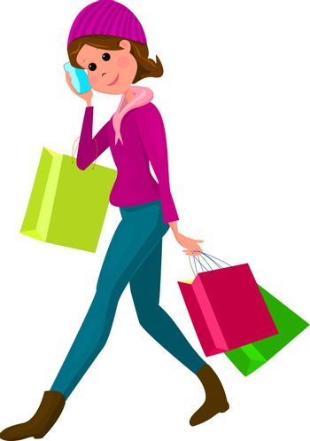 Young woman with shopping bags and smartphone in hand. A woman is holding shopping bags. Young beautiful woman on a white background.