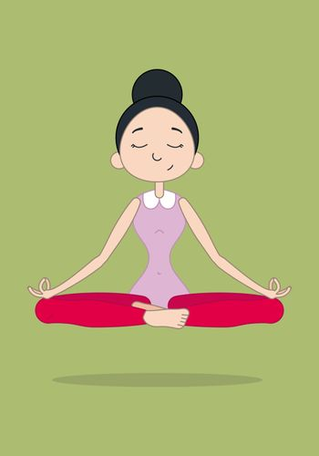 Vector illustration of a cute girl practicing yoga in lotus meditative pose. Character vector illustration.