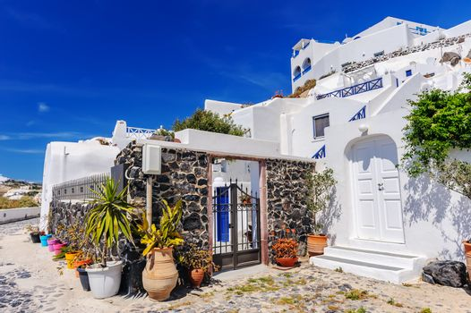 Typical street view of Fira village at Santorini island, Greece